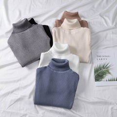 Women's autumn and winter self-cultivation Pullover knitted sweater with high collar and heavy bottom sweater black Uniform code