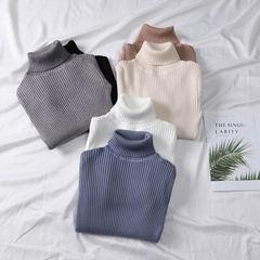 女式秋冬修身套头针织衫高领厚款打底衫百搭毛衣 黑色 均码