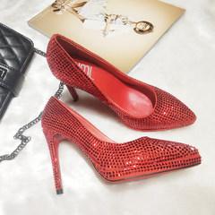 高跟女鞋 新娘鞋 镶钻女高跟鞋子 黑色 35