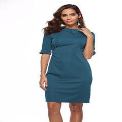 亚马逊2018夏季连衣裙OL铅笔裙 欧美爆款女装翻领修身复古包臀裙 酒红色 S
