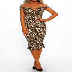 New Women's Dresses in Spring and Summer of 2019 Amazon Sells European and American V-neck Leopard-print Fishtail-wrapped Hip-ol Dresses Leopard Print S