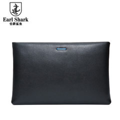Earl Shark Leather Handbag Men's Business Hand Grasp Buffalo Envelope Men's Handbag Mobile Handbag black