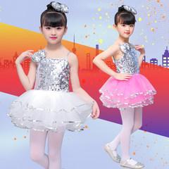 新款幼儿儿童公主舞台走秀流行练服工爵士亮片舞蹈服蓬蓬裙演出服