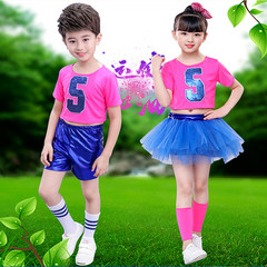 Children's day performance, boys and girls football clothes, baby cheerleading, hip hop jazz dance costume.