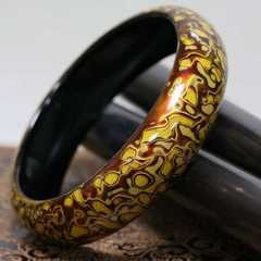 Lacquerware, lacquer bracelet, lacquerware, pure handmade Chinese Fengping Yao polishing lacquerware, jewelry, gifts and crafts
